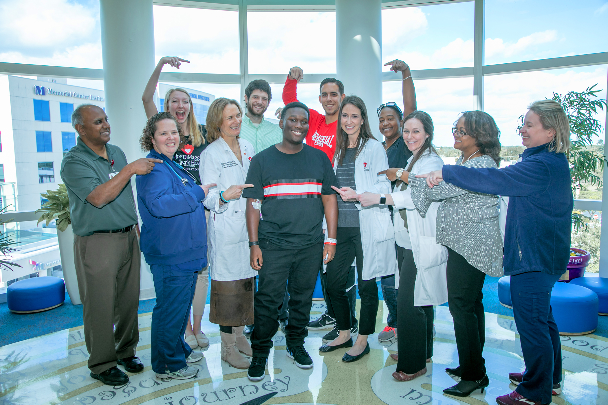 50th Heart Transplant Timothy with members of the Joe DiMaggo Childrens hospital