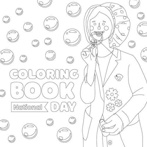 national coloring book day no color